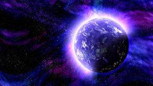 Превью обои планета, космос, фотошоп, свечение, пространство