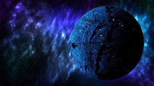 Превью обои планета, космос, вселенная, галактика, синий