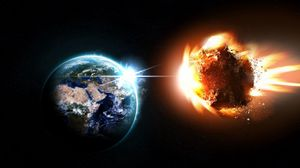Превью обои планета, метеорит, астероид, комета, взрыв, космос