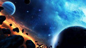 Превью обои планета, метеориты, камни, космос