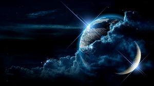 Превью обои планета, облака, свет, звезды