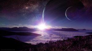 Превью обои планета, пейзаж, вспышка, сияние, инопланетный