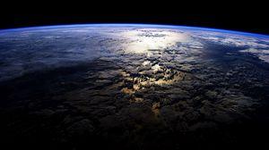 Превью обои планета, поверхность, космос, темный, острова