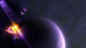 Превью обои планета, сатурн, космос, кольца, метеорит