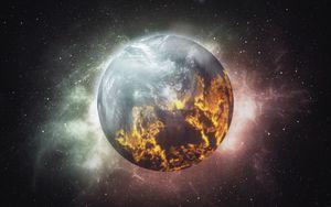 Превью обои планета, сияние, атмосфера, звезды, космос