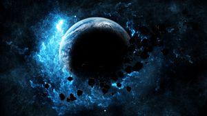 Превью обои планета, свечение, астероиды, вспышка, яркий, космос