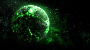 Превью обои планета, зеленый, свечение, яркий, космос