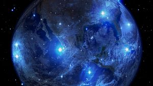 Превью обои планета, земля, звезды, вселенная, пространство, астрономия