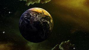 Превью обои планета, звезды, галактика, космос