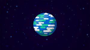 Превью обои планета, звезды, космос, арт, вектор