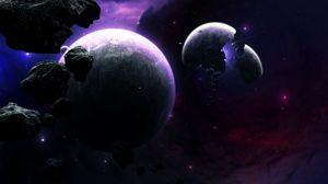 Превью обои планеты, астероиды, осколки, вспышка, космос