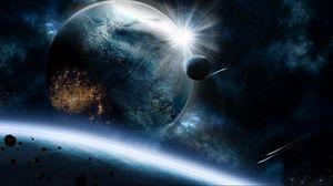 Превью обои планеты, астероиды, скорость, удар, взрыв