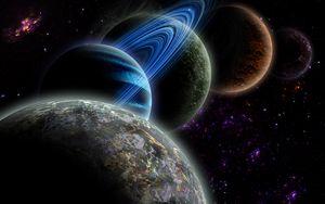 Превью обои планеты, галактика, звезды, космос, вселенная