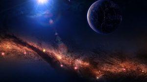 Превью обои планеты, свет, звезды, туманность