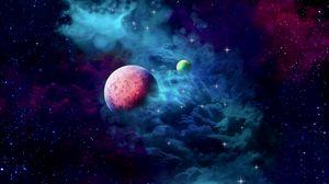 Превью обои планеты, туманность, облако, галактика, космос