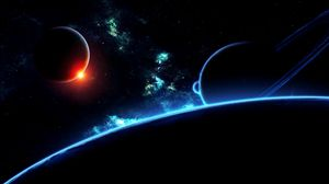 Превью обои планеты, вселенная, галактика, звезды, вспышка