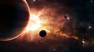 Превью обои планеты, звезды, галактика, свечение, космос