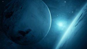 Превью обои планеты, звезды, галактика, свет