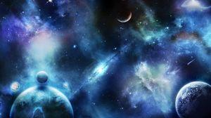 Превью обои планеты, звезды, космос, вселенная, пятна, размытость