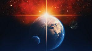 Превью обои планеты, звезды, сияние, космос, вселенная, галактика