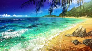Превью обои пляж, пальма, океан, арт, прибой