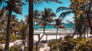 Превью обои пляж, пальмы, лето, тропики, отдых