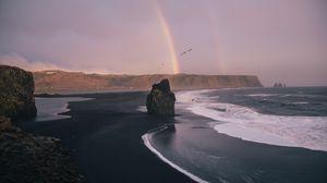 Превью обои пляж, скалы, радуга, волны, море