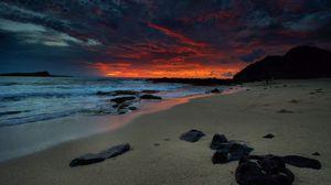 Превью обои пляж, ночь, море, небо