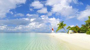 Превью обои пляж, тропики, море, песок, пальмы, яхта