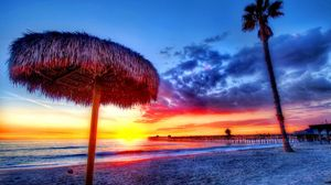 Превью обои пляж, тропики, море, песок, пальмы, закат, красиво