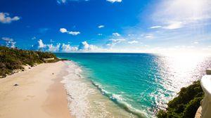 Превью обои пляж, тропики, море, песок, трава