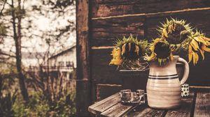 Превью обои подсолнухи, ваза, цветы