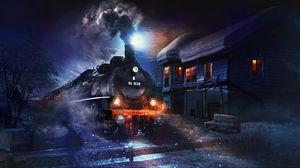 Превью обои поезд, арт, ночь, дым