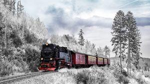 Превью обои поезд, лес, зима, железная дорога, снег