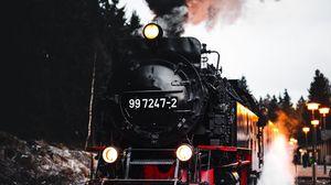 Превью обои поезд, железная дорога, рельсы, дым, деревья