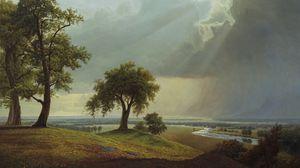 Превью обои поле, дерево, арт, трава, небо