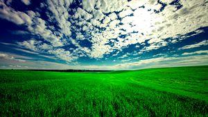 Превью обои поле, небо, трава, облака, зеленый, лето