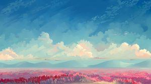 Превью обои поле, тюльпаны, цветы, арт, небо, облака