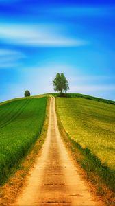 Превью обои поле, трава, лето, дорога, небо, холм