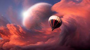 Превью обои полет, шар, небо
