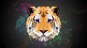 Превью обои полигон, тигр, арт, графика
