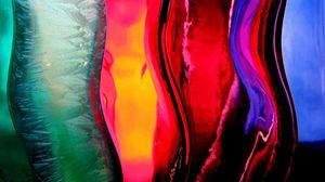Превью обои полосы, разноцветные, стекло, жидкость