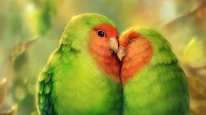 Превью обои попугаи, птицы, романтика, милый, арт
