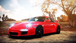 Превью обои porsche, авто, машина, автомобили, машины, красный