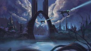 Превью обои портал, космические корабли, город, фантастика, sci-fi, арт