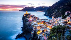 Превью обои прибрежный город, побережье, море, горы, вернацца, италия