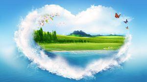 Превью обои природа, рисунок, облака, лето, сердце