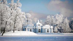 Превью обои природа, снег, зима, город, храм