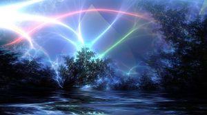 Превью обои природа, свет, линии, блеск, сияние
