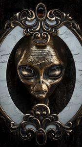 Превью обои пришелец, голова, металлический, портрет, 3d